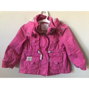 H&M Zip Up Buttons Detachable Hoodie Parka Jacket
